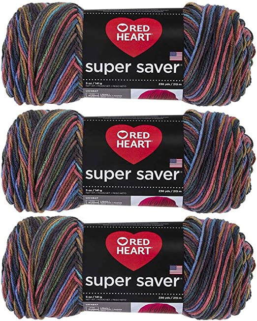 Red Heart Super Saver WOODSY variegated multi yarn 5 ounce skein