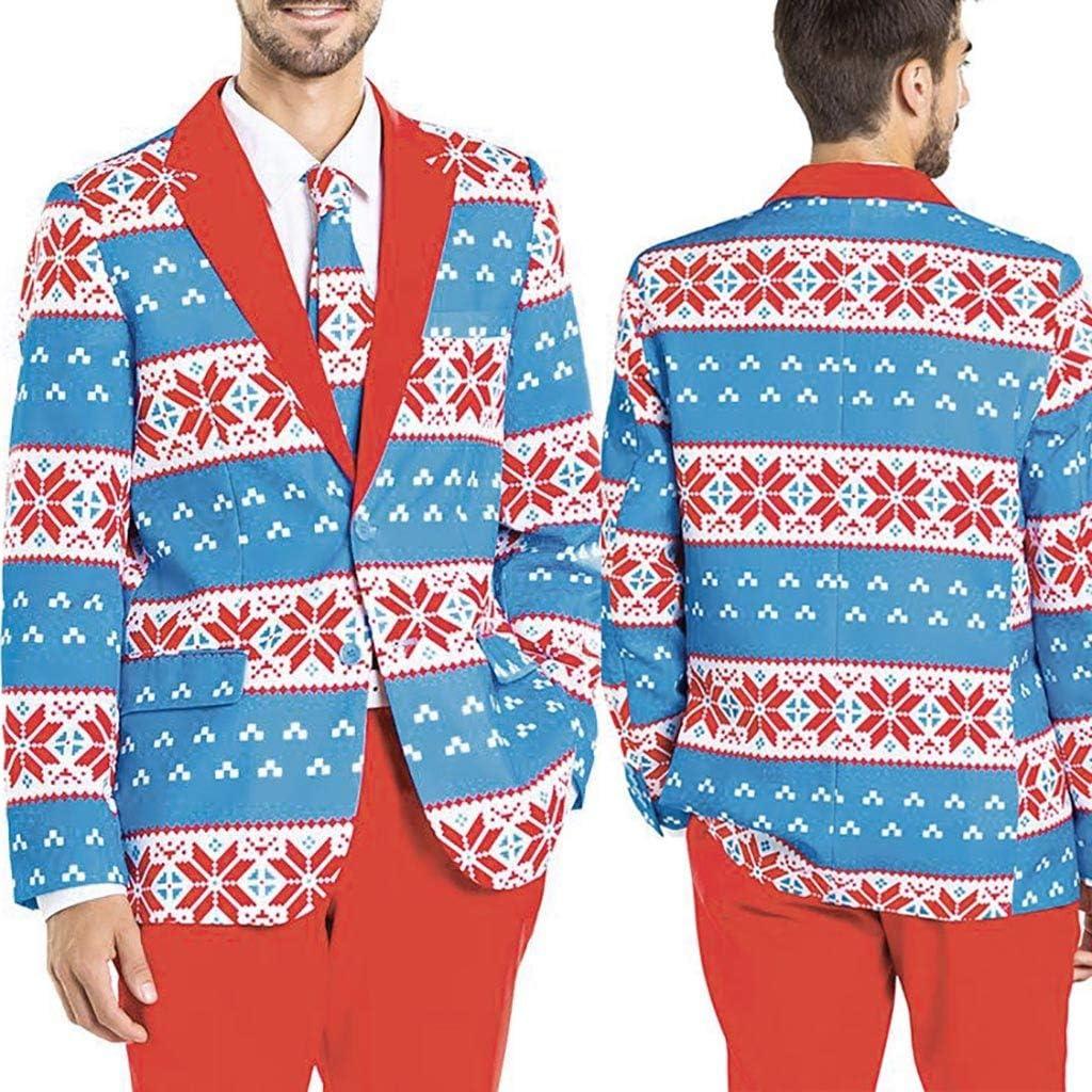 Leewa Christmas Mens Blazer Casual Costume Tuxedo Blue Print Slim Fit Jacket Blazer Mens Jackets Christmas Holiday Carnival Mens Jacket Winter Suit SuitSuit Top Details