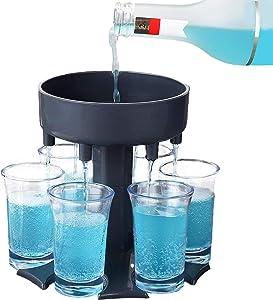 6 Shot Glass Dispenser and Holder, Multiple Bar Shot Dispenser With 6 Acrylic Cup(1.2oz), Wine Dispenser for Drinking Games Bar Cocktail Party Favors