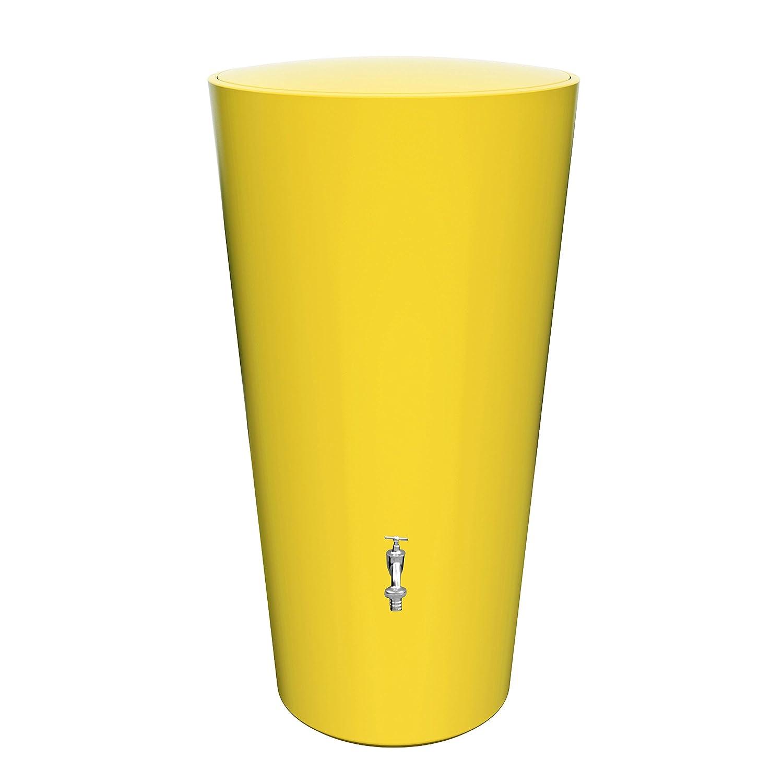 Regentonne Regenspeicher Rainbowl 210 Liter in der Farbe banana aus UV- und witterungsbeständigem Material. Regenfass bzw. Regenwassertank mit kindersicherem Deckel und hochwertigen Messinganschlüssen
