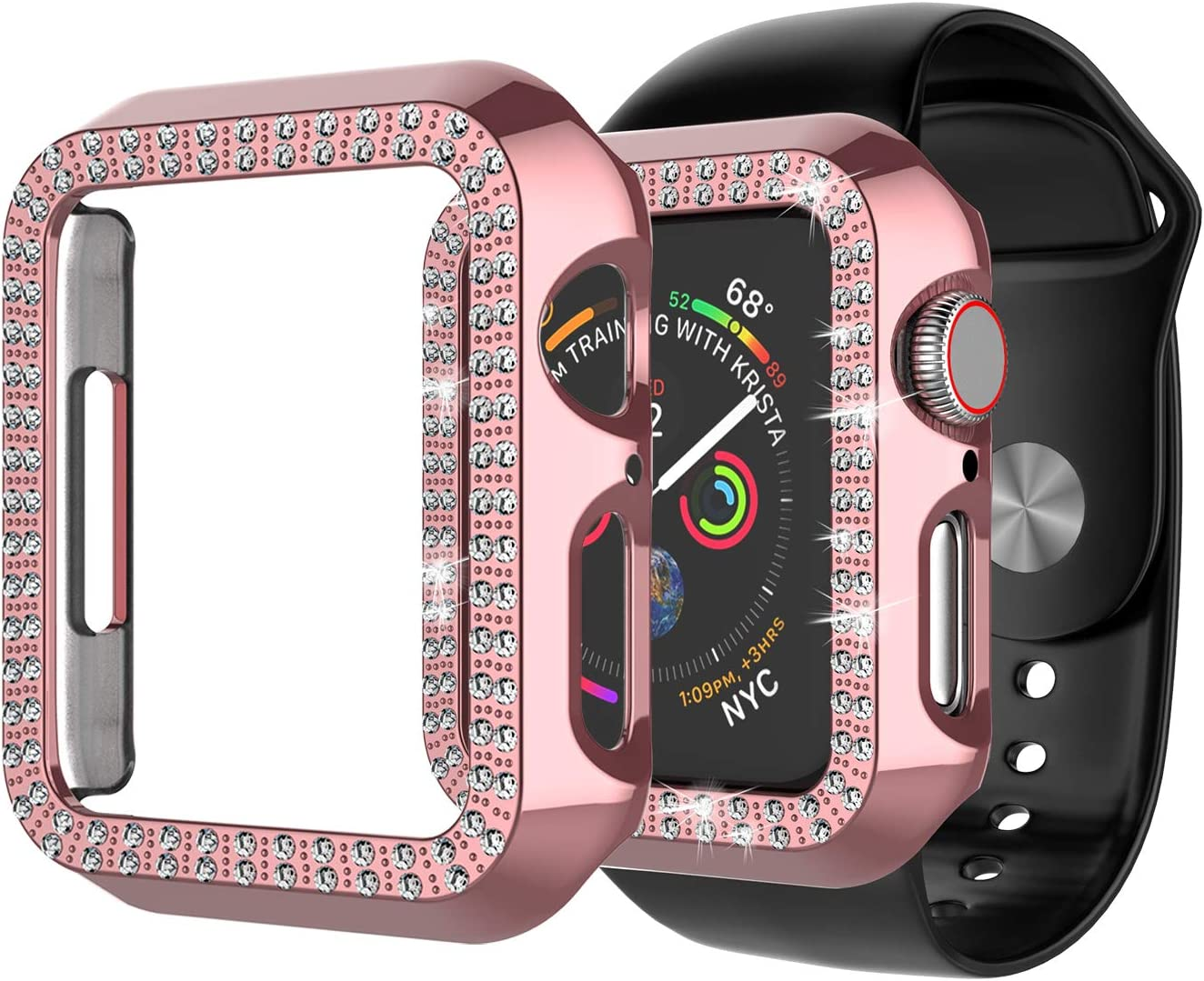 Tiflook Case for Apple Watch 42mm Series 3 2 1, Double Row Crystal Diamond Bling Hard Shockproof Anti Scratch Protective Case Plastic Frame Cover for iWatch Series 3 Series 2 Series 1, Rose Gold