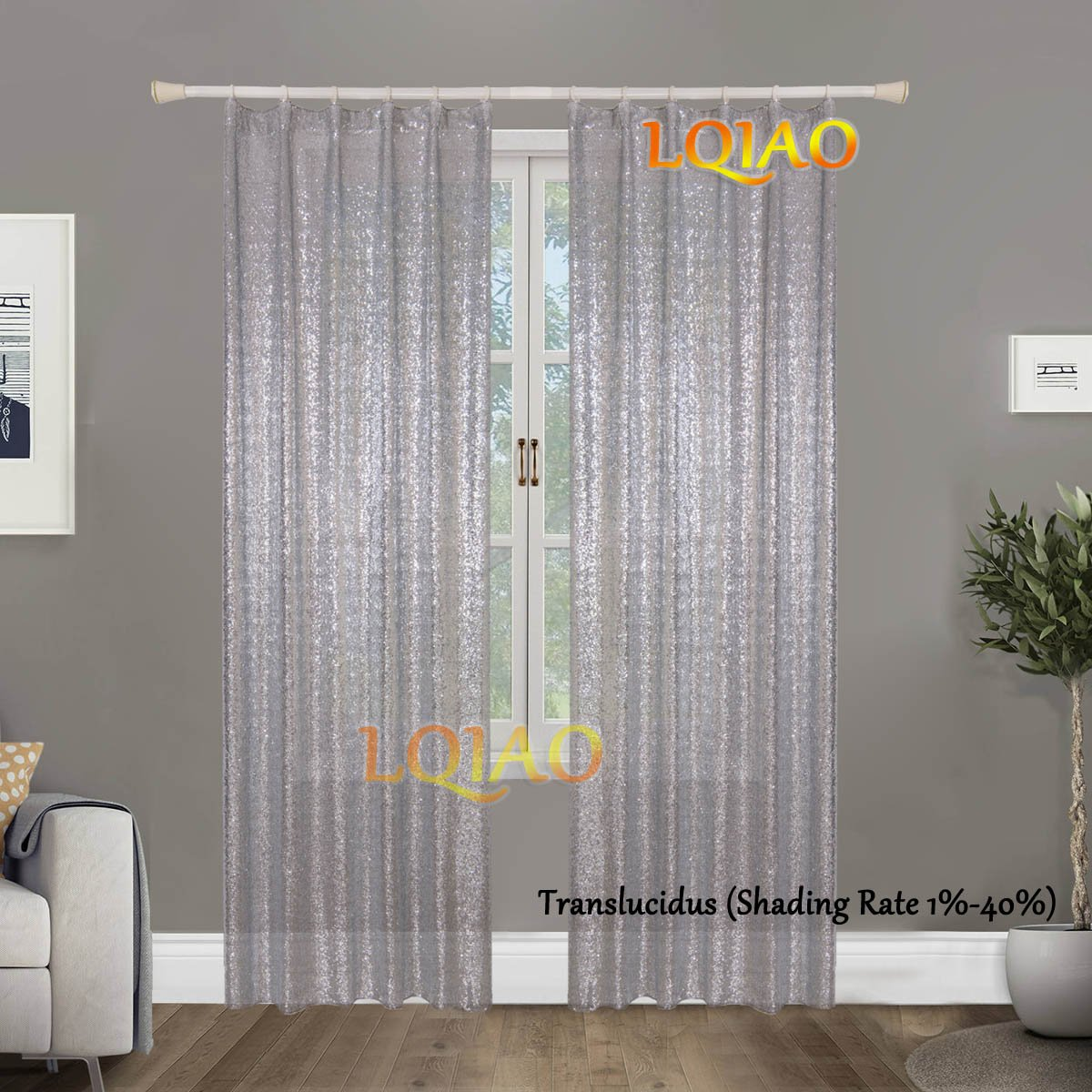 LQIAO Luxurious Metalic Silver Sequin Curtains 50x95in Sparkly Silver Fabric Window Curtain Panel,little see through, 50x95 inches,More Colors Options Hooks Possible