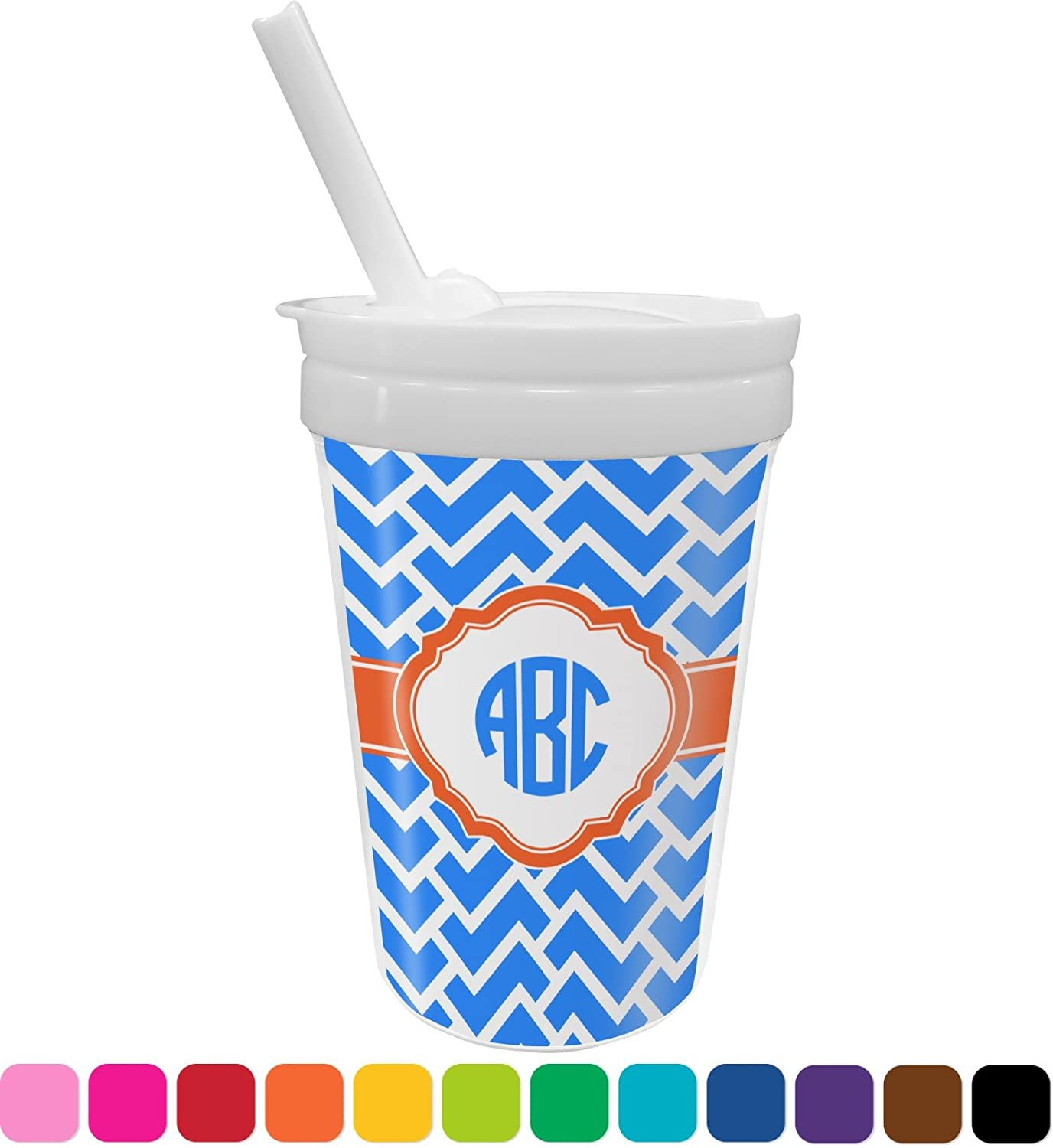 Zigzag Sippy Cup with Straw (Personalized)