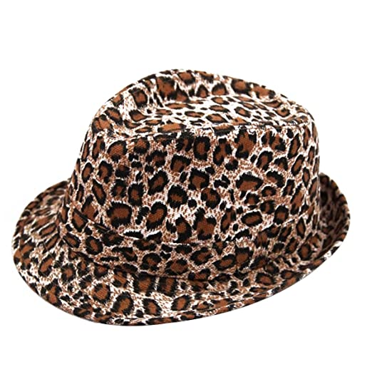 Amazon.com  Aivtalk Children Chic Leopard Jazz Fedora Short Brim ... fd91c1ffe19b