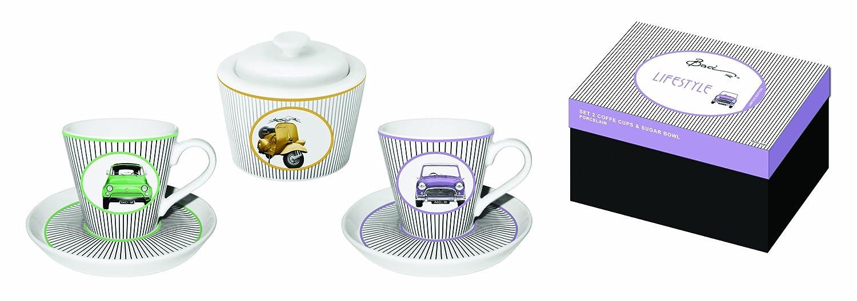 Set da 2 tazzine da caff/è con piattini e zuccheriera disegno di automobili Baci Milano