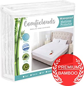 "Comficlouds Mattress Protector Cooling Mattress Protector 100% Hypoallergenic Waterproof Mattress Pad Cover - Bamboo Terry Top - Fitted 8""-21"" Deep Pocket - Breathable, Noiseless&Vinyl Free (Twin-XL)"