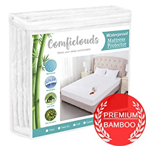 "Full Size Bamboo Mattress Protector Cooling Mattress Protector 100% Hypoallergenic Waterproof Mattress Pad Cover - Bamboo Terry Top - Fitted 8""-21"" Deep Pocket - Breathable, Noiseless&Vinyl Free"