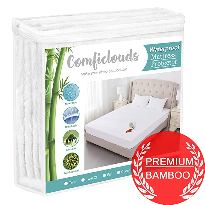 """Full Size Bamboo Mattress Protector Cooling Mattress Protector 100% Hypoallergenic Waterproof Mattress Pad Cover - Bamboo Terry Top - Fitted 8""""-21"""" Deep Pocket - Breathable, Noiseless&Vinyl Free"""