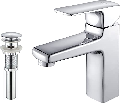 Kraus KEF-15501-PU11CH Virtus Single Lever Basin Bathroom Faucet and Pop Up Drain with Overflow Chrome