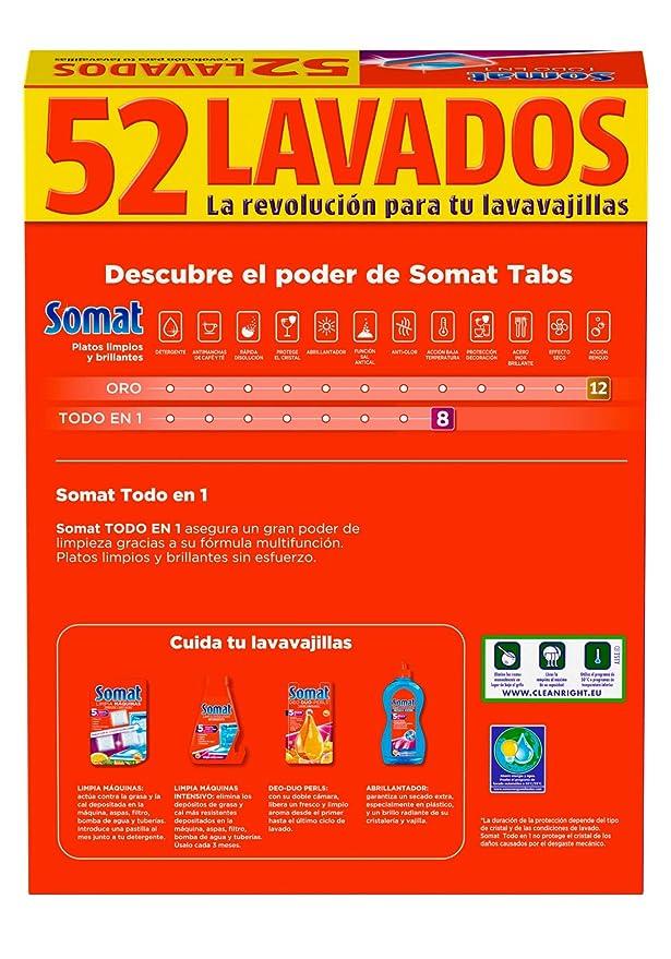 Somat Todo En 1 - Pastillas para Lavavajillas, 8 Funciones, 52 ...