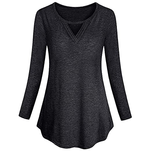3190063a3f70 Drindf Women Casual Basic Long Sleeve Flare Tunic Tops Soft Solid Hem  Blouse Pullove Clothes T-Shirt at Amazon Women s Clothing store