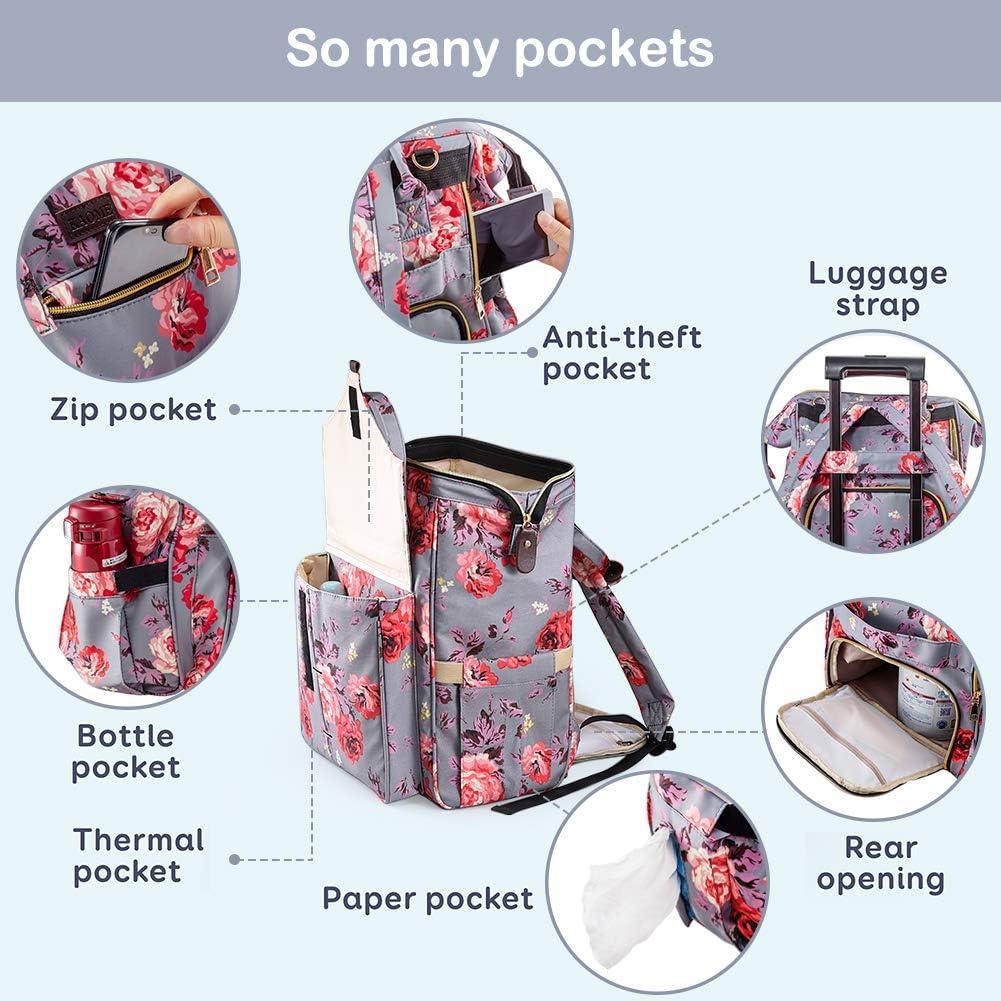 dise/ño de flores Bolso cambiador para beb/é con cambiador y bolsillo para botellas Kaome impermeable y multifunci/ón
