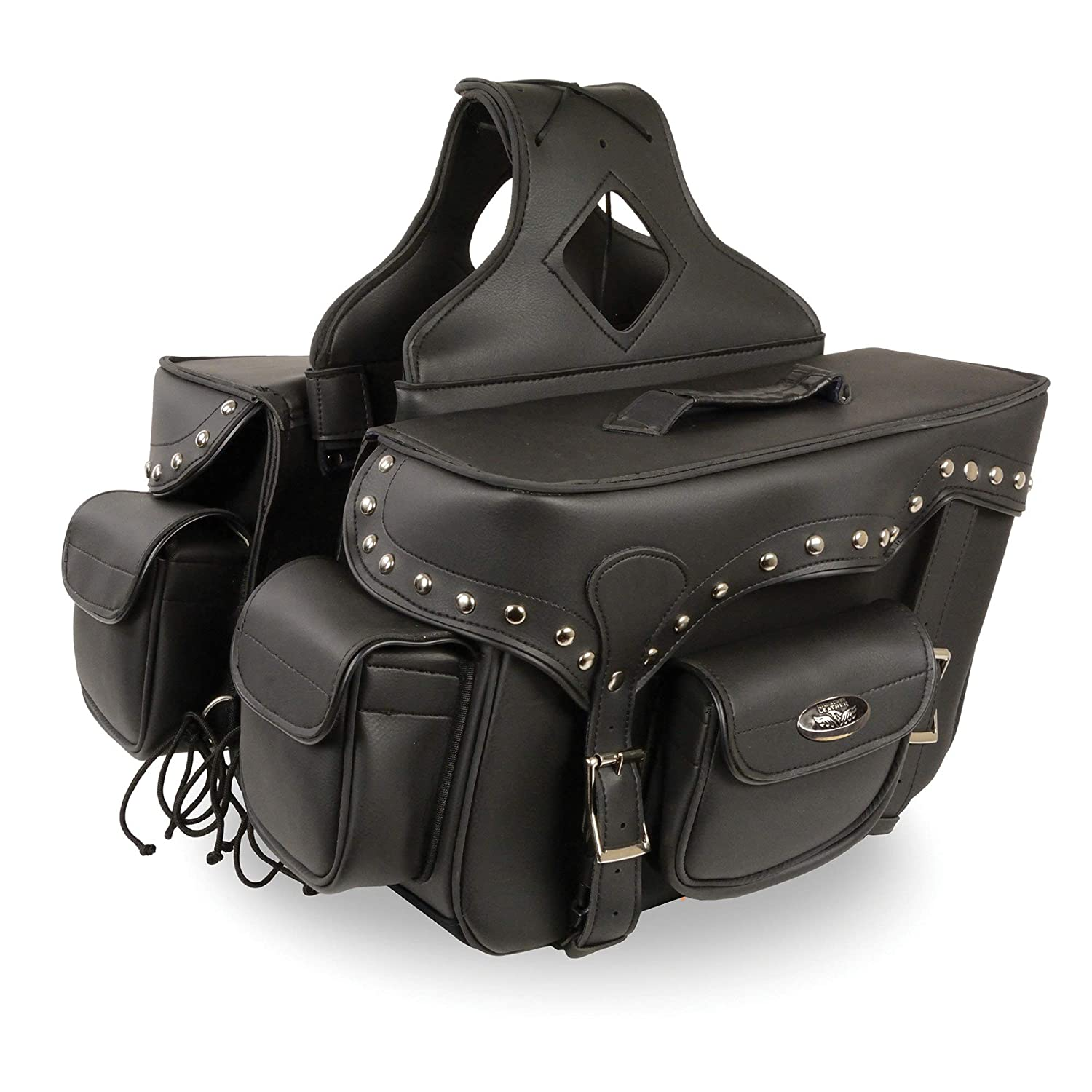 Milwaukee Performance SH66601ZB Black Zip-Off Double Pocket Studded PVC Throw Over Saddle Bag with Reflective Piping
