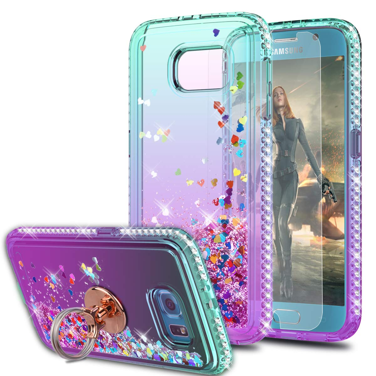 Galaxy S6 Case,Galaxy S6 9200 Case with HD Screen Protector with Ring Holder,KaiMai Glitter Moving Quicksand Clear Cute Shiny Girls Women Phone Case for Galaxy S6-Aqua/Purple Ring by KaiMai