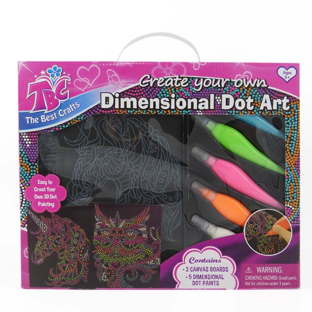 TBC Canvas Painting Set, Preprinted Unicorn and Owl Patterns Painting, 3D Dot Arts, Painting Set Canvas with 5 Vibrant Colors of 3D Dot Paints, Great Canvas Painting for Kids.