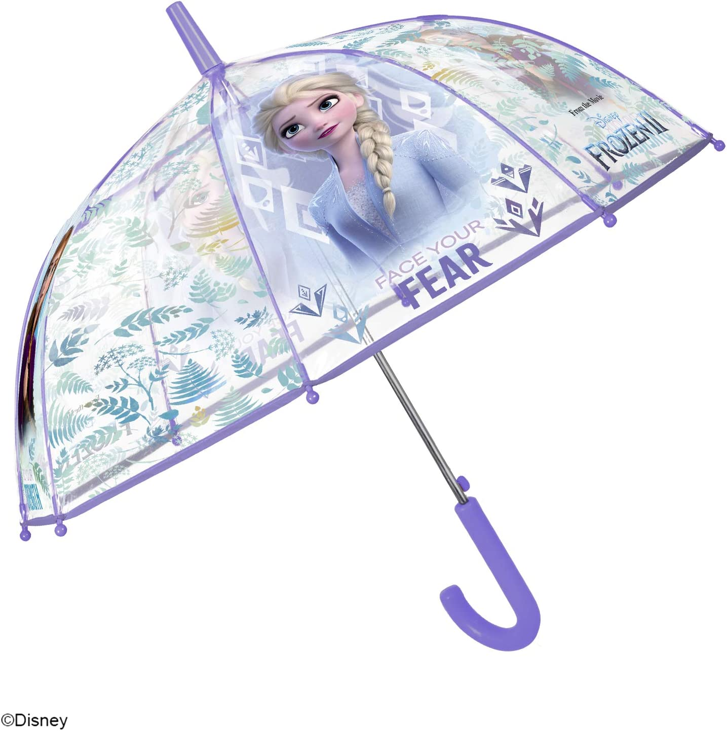 Disney Elsa Stick Umbrella for Children Windproof and Resistant Dome Brolly Frozen 2 Transparent Kids Umbrella Aged 4//6 Years Perletti Kids Automatic Opening Diameter 74 cm POE