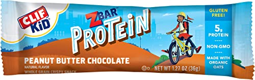 CLIF KID ZBAR – Protein Granola Bars – Peanut Butter Chocolate – 1.27 Ounce Gluten Free Bars, Lunch Box Snacks, 10 Count