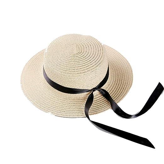 93f76cee99ade Elibone 2019 Flat Bow Straw hat Girls Summer Sun Hats for Women Beach  Boater hat Ladies