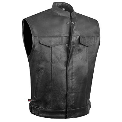 SOA Men's Leather Motorcycle Concealed Gun Pockets Biker Club Vest w/Armor L: Automotive