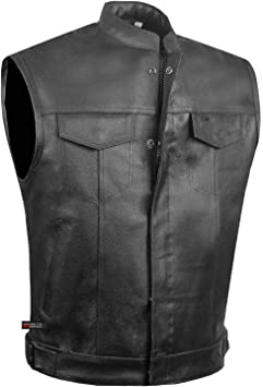 concealed carry for firearms Men/'s  Leather Premium Motorcycle Biker  Vest