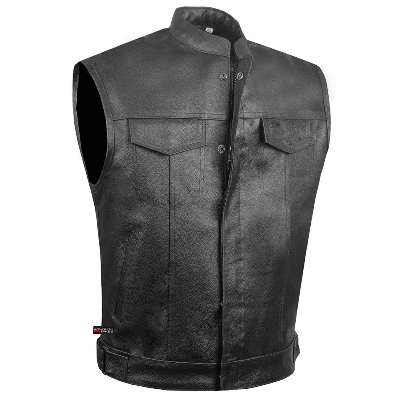 SOA Men's Leather Motorcycle Concealed Gun Pockets Armor Biker Club Vest L