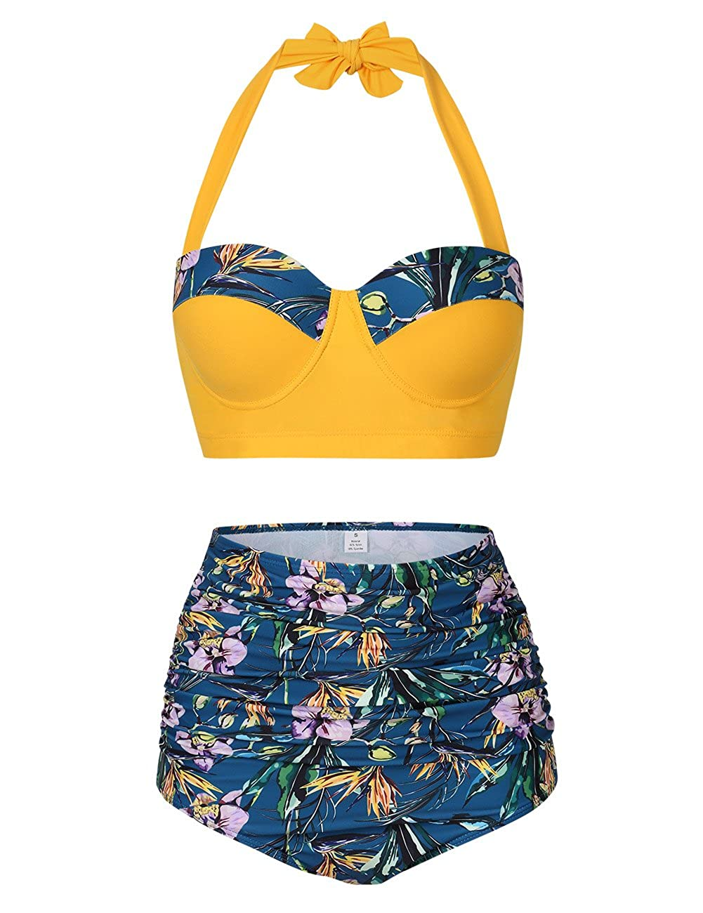 HiMiss Women Retro 50s Floral Print Bathing Suit Padded Bra High Waist Bikini Swimsuit