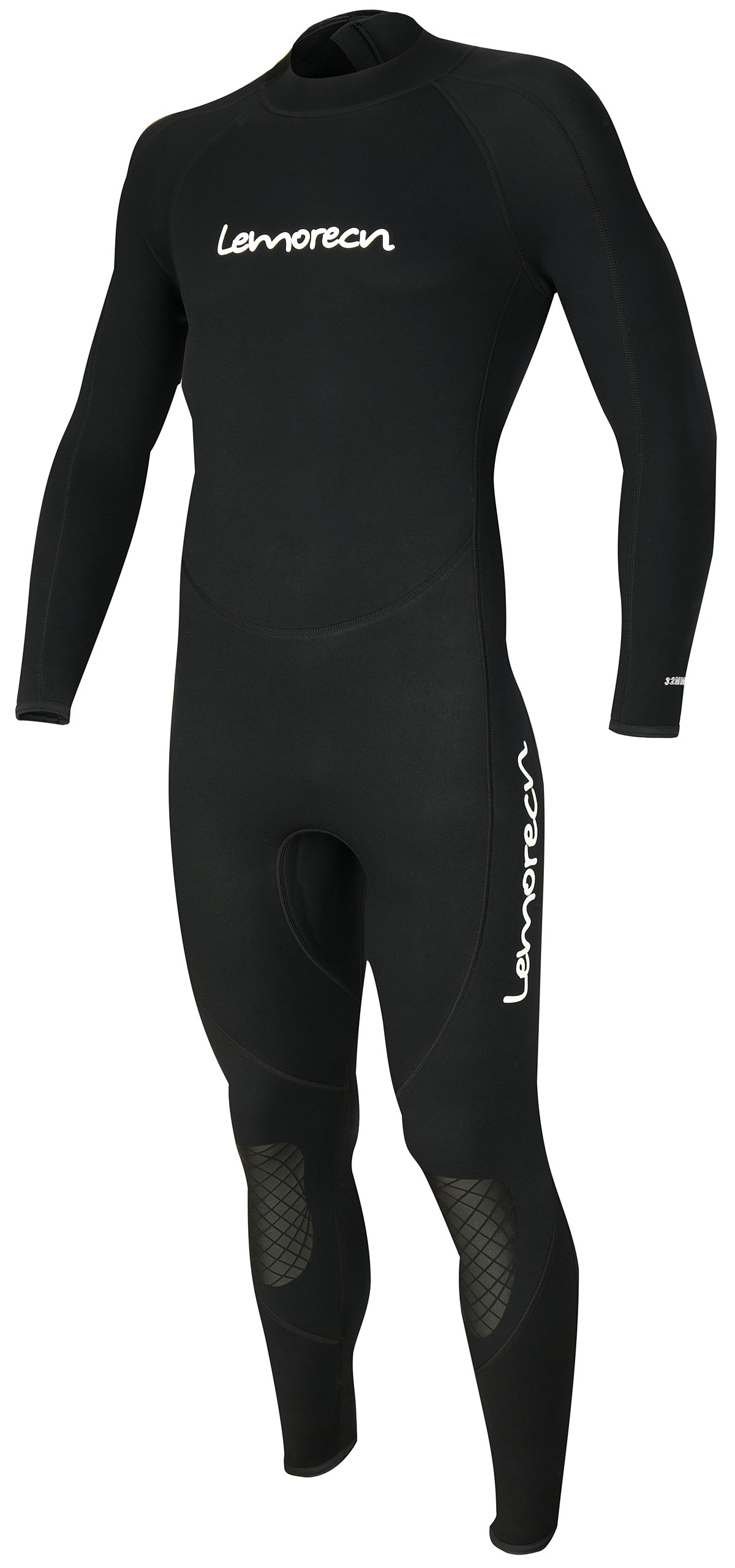 Lemorecn Mens Wetsuits Jumpsuit Neoprene 3/2mm Full Body Diving Suit (3031blackL)