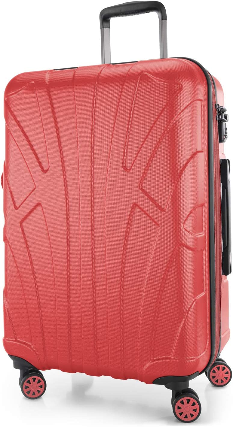 Suitline - Maleta rígida, Equipaje de Viaje, TSA, 66 cm, Aprox. 58 litros, 100% ABS Mate, Coral