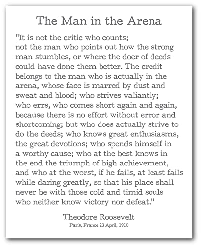 image regarding The Man in the Arena Printable named : Theodore Roosevelt Quotation Print, The Gentleman in just the
