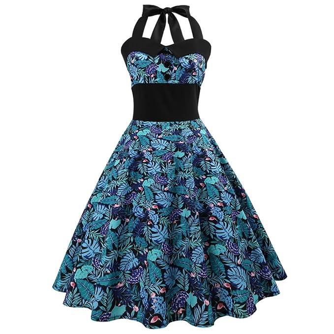 Vestido vintage para mujer Saihui Retro de los años 50 con cuello halter, estampado floral, Rockabilly, cóctel, fiesta de noche, vestidos de columpio ...