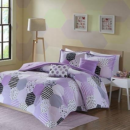 Urban Habitat Kids Trixie Twin/Twin XL Comforter Sets for Girls - Purple,  Geometric – 4 Pieces Kids Girl Bedding Set – Cotton Childrens Bedroom ...