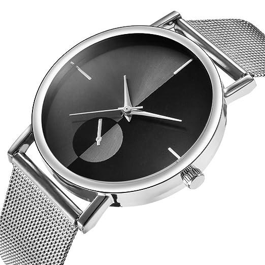 Relojes Mujer,❤LMMVP❤Mujer moda clásico oro cuarzo acero inoxidable reloj de pulsera