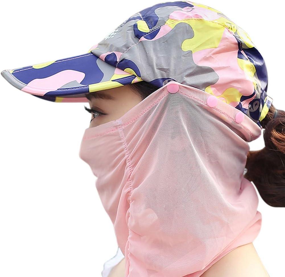 Femme Fille 2 en 1 Casquette Visi/ère Anti-UV Camouflage Pliable Chapeau de Soleil Chapeau Legionnaire avec Masque Amovible Protection Solaire Visage Cou pour V/élo Camping Randonn/ée Trekking P/êche