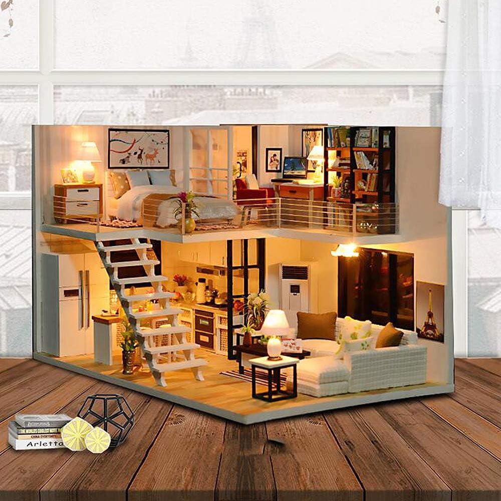 Fsolis Miniatura casa delle Bambole con mobili,3D Fai da Te Kit di Dollhouse di Legno Oltre a Prova di Polvere e Il Movimento della Musica Regalo Creativo Elegant