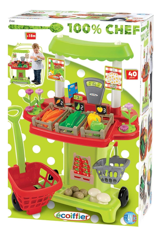 Ecoiffier 1744 - Puesto de verduras de juguete con accesorios para la compra: Amazon.es: Juguetes y juegos