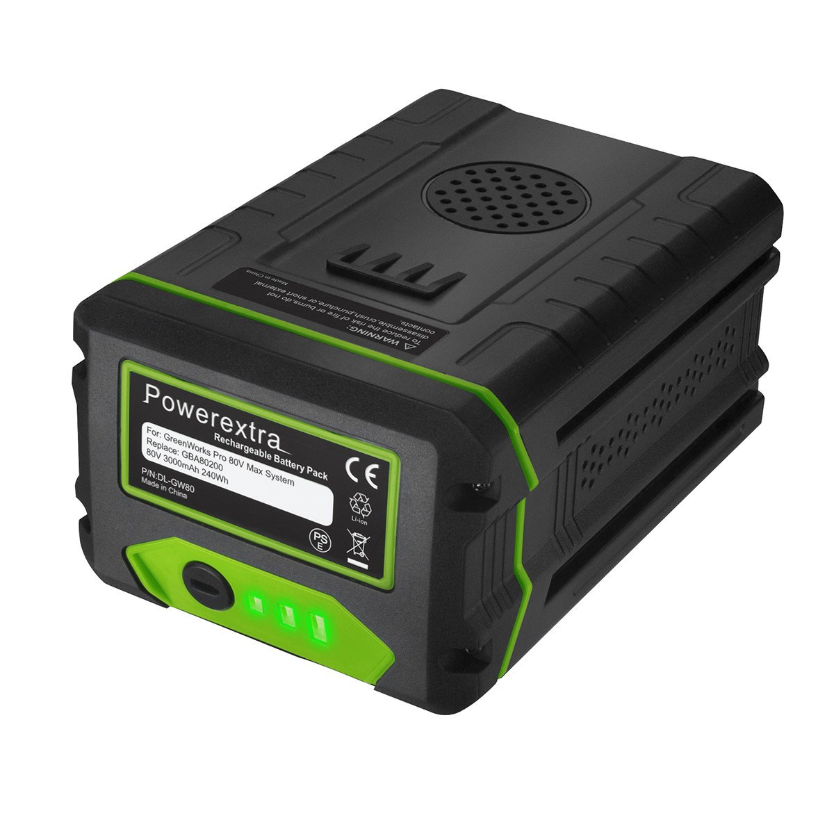 Powerextra 80V 3.0Ah Replacement Battery Compatible with Greenworks PRO 80V Lithium Ion Battery GBA80200