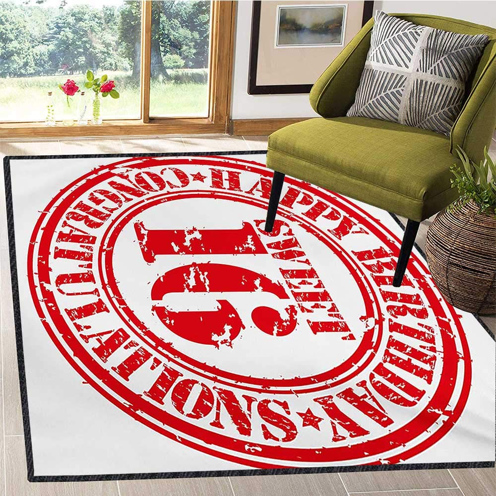 16th Birthday, Area Rug Dorm, Vintage Rubber Stamp Old Fashioned Greeting Sign Time Flies Theme Print, Door Mat Increase 6x9 Ft Vermilion White by lacencn (Image #2)