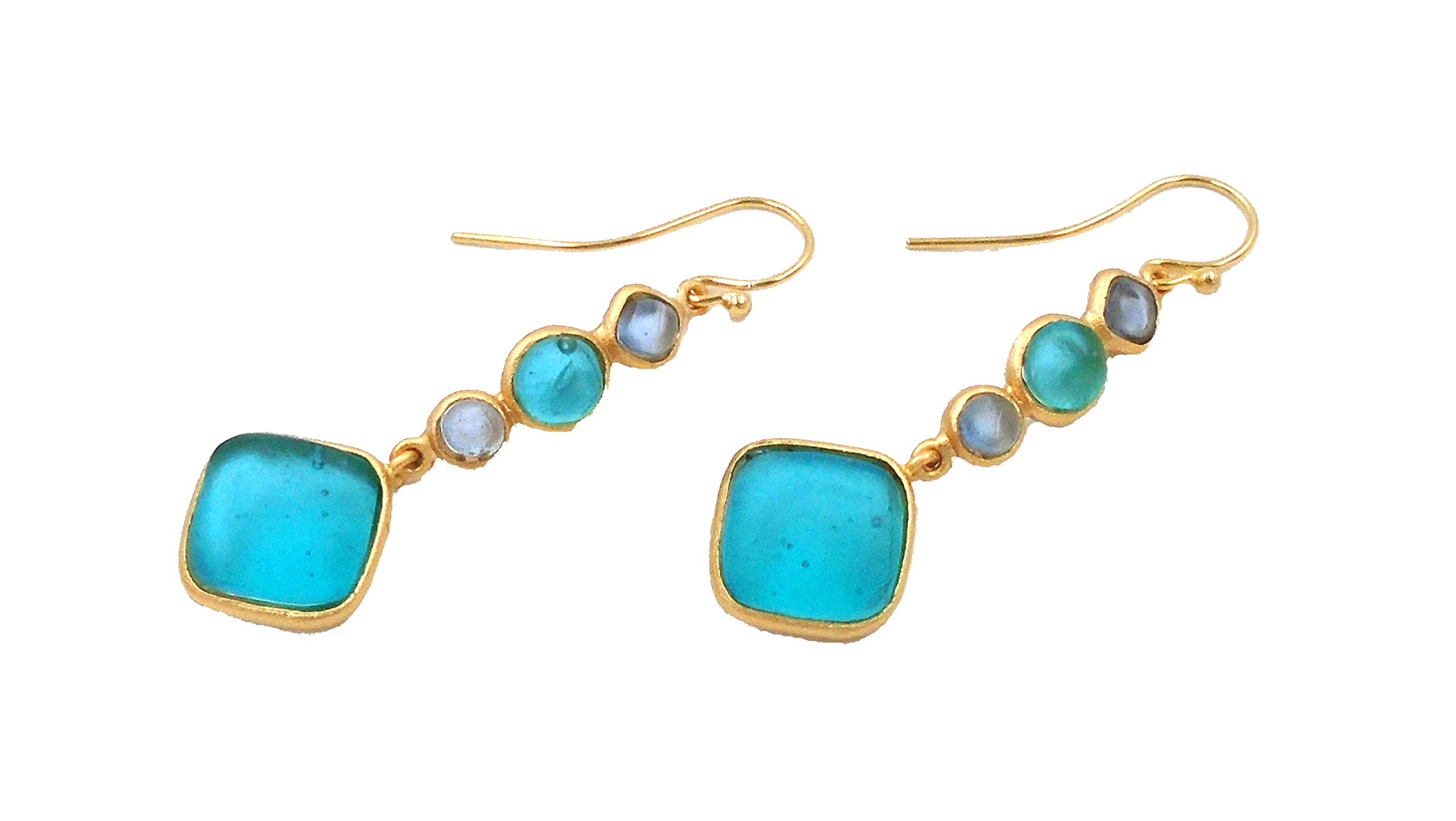 Michael Vincent Michaud- Glass ''Multi Stone Diamond Drop Hanging Earring'' in Teal/Lt. Blue