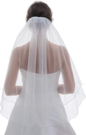 2 Layer Bridal White Ivory Elbow Length Pearls Silver Beaded Edge Wedding Veil