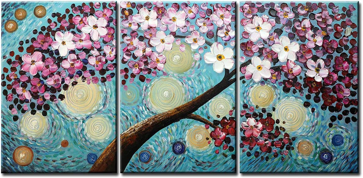 Flower 100 Hand-Painted Oil Painting Home Wall Decor Modern Abstract Artwork Canvas Art 3D Cherry Blossoms Flowers Hand Painted Feng Shui Decoration Blooming Life Maple Tree Framed 3 Panels