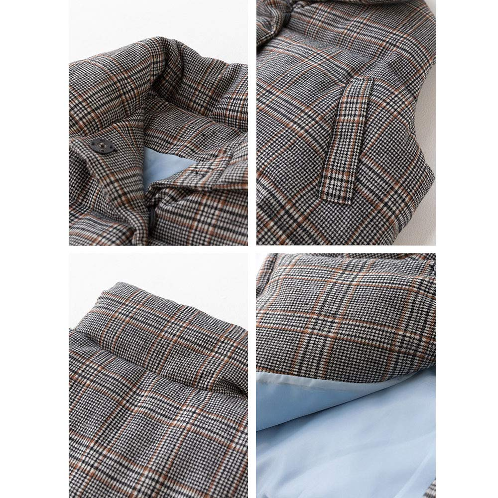 Womens Retro Plaid Quilted Vest Casual Button Sleeveless Padded Puffer Jacket