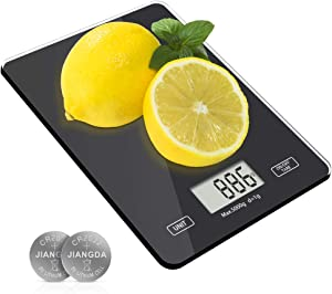 Meromore Food Kitchen Scale, Digital Weight Scales Grams and Oz, 1g/0.1oz Precise Graduation, 11lb Kitchen Scale with Tempered Glass Platform for Baking Kitchen Cooking