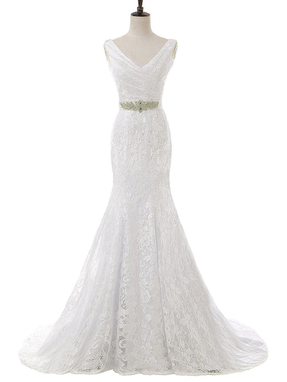 Solovedress Frauen Meerjungfrau Hochzeitskleider Schatz Spitze Abendkleid Brautjungfernkleid