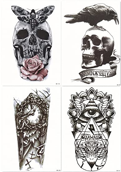 Amazoncom Dalin 4 Sheets Temporary Tattoos Skull Rose Clock