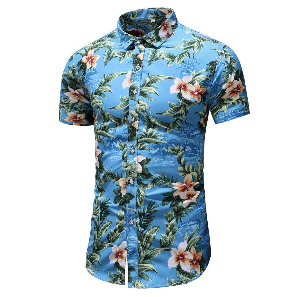KLGDA Mens Hawaiian Shirt Flower Print Casual Short Sleeve Beach Button Downt Shirt