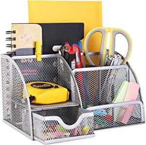 YCOCO Desk Organizer for Office, All in One Desktop Organizer with Note Paper Organizer and Pencil Holder, Silver Metal Mesh Office Organizer for Office Supply and Desk Accessories Organizers