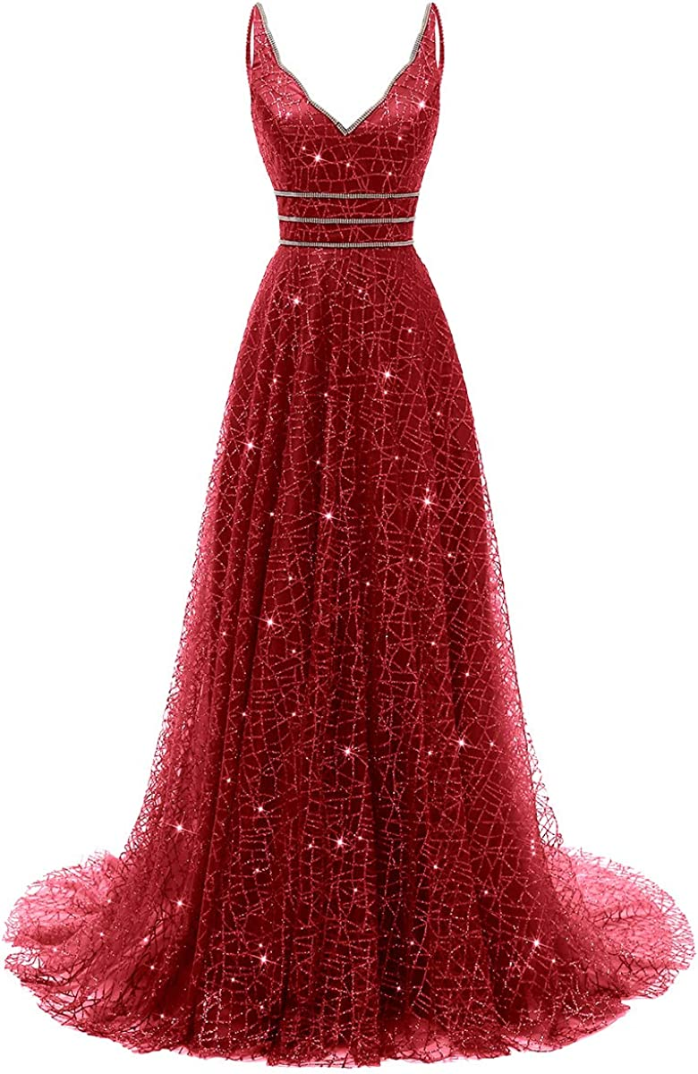 RJOAM Women's Long Deep V-Neck&Back Evening Gown