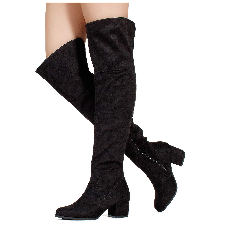 17da91744b9 RF ROOM OF FASHION Women's Block Heel Pullon Over The Knee Boots