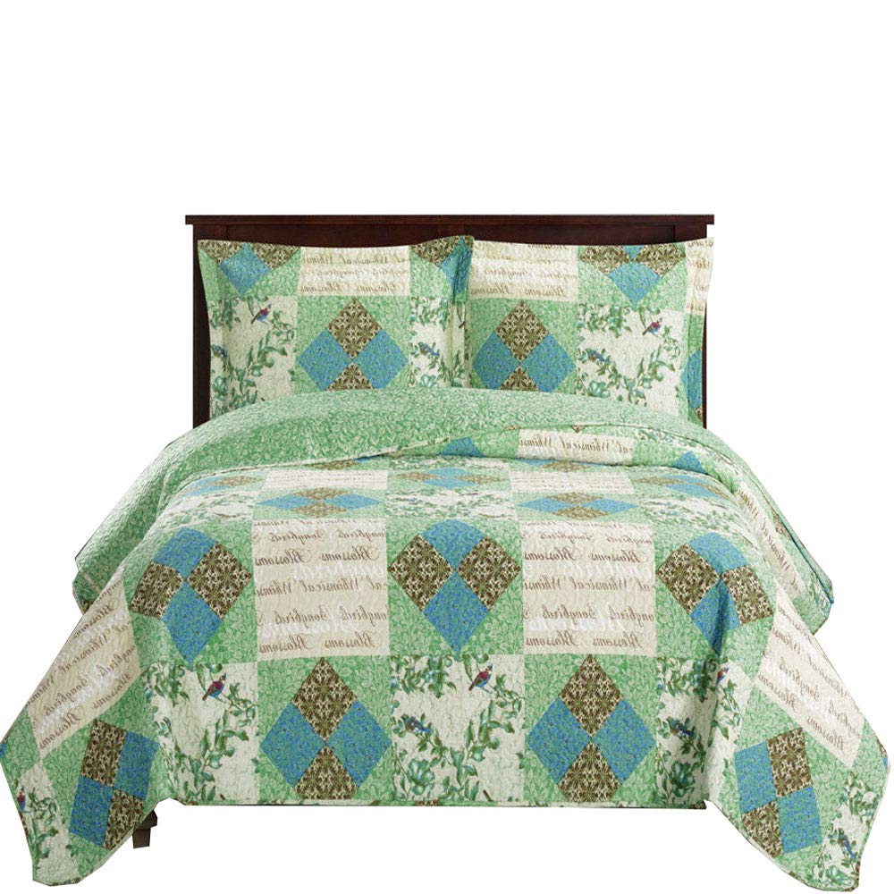 Luxury Microfiber Printed Quilt by Royal Hotel Royal Hotel Bedding COMIN16JU031607 Queen Size Davina Full Over-Sized Coverlet 3pc set