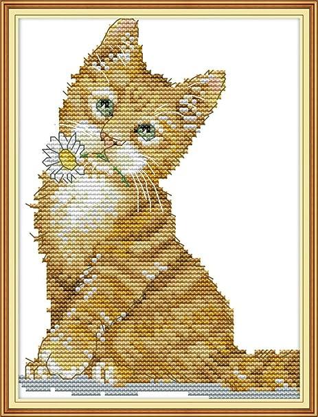 Yeesam Art - Juego de punto de cruz (diseño de gato y pelota ...